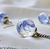 Украшения handmade. Livemaster - original item Blue Transparent pendant-Transparent ball earrings with real cornflowers. Handmade.