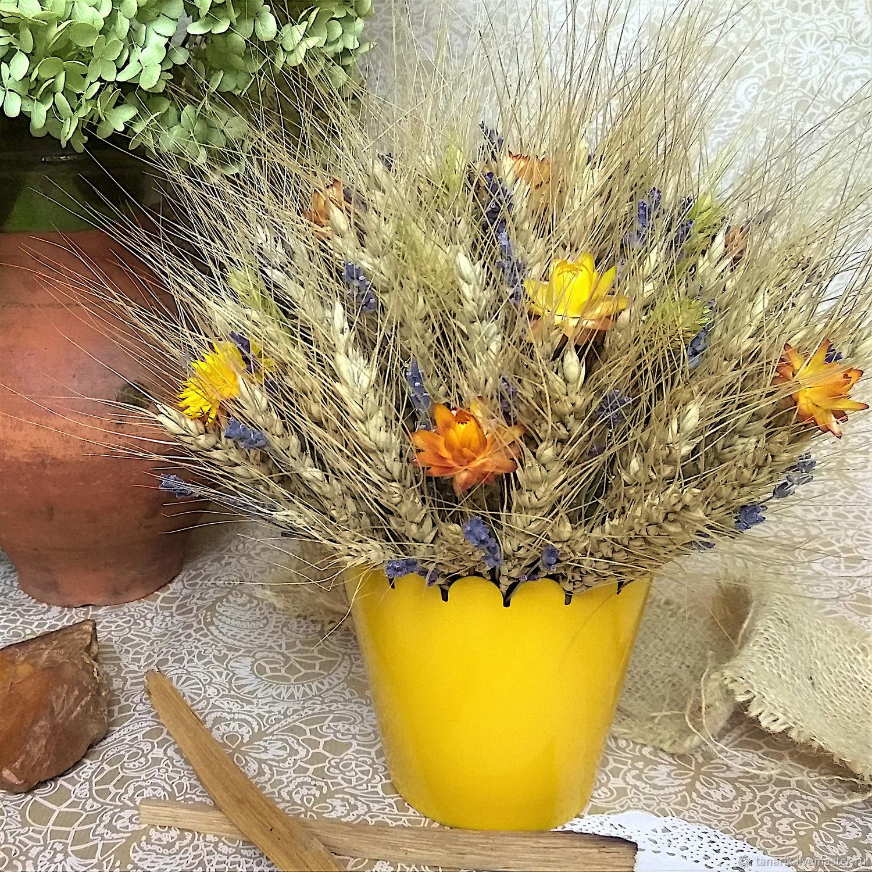 Букет пшеницы в желтом кашпо. Букет из сухоцветов с лавандой, Букеты, Домодедово, Фото №1