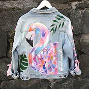 Одежда ручной работы. Ярмарка Мастеров - ручная работа Джинсовая куртка с принтом.. Handmade.