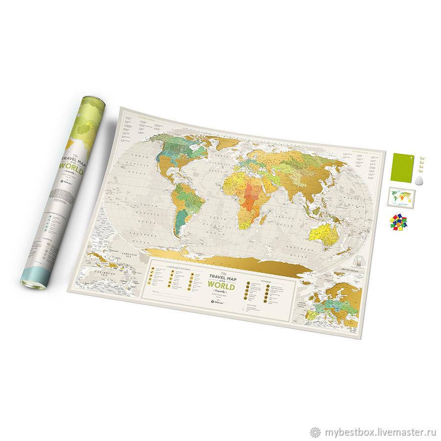 Mapa De Travel Map Geograghy World, Decor, Moscow,  Фото №1