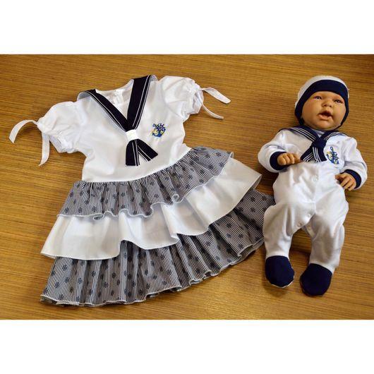 Одежда унисекс ручной работы. Ярмарка Мастеров - ручная работа. Купить Family Look для брата и сестры в морском стиле. Handmade.