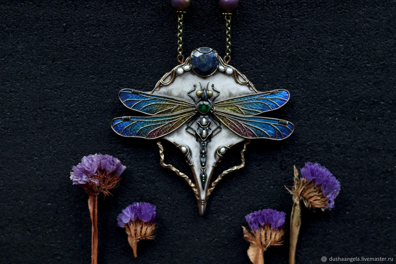 Necklace 'Nocte Odonatum' art Nouveau, dragonfly, insect, Necklace, Vladimir,  Фото №1