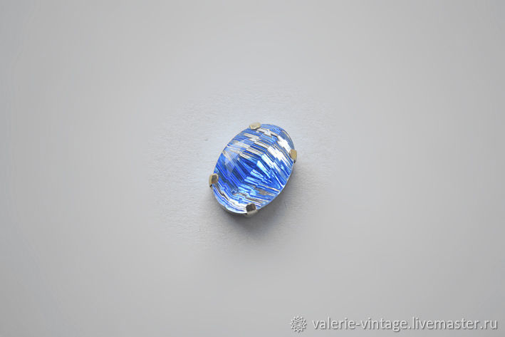 Vintage rhinestones 18h13 mm color Blue givre, Cabochons, Moscow,  Фото №1