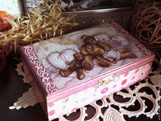 """Шкатулки ручной работы. Ярмарка Мастеров - ручная работа. Купить Шкатулка большая """"Розовая мечта"""" (декупаж). Handmade. Брусничный, розовый"""