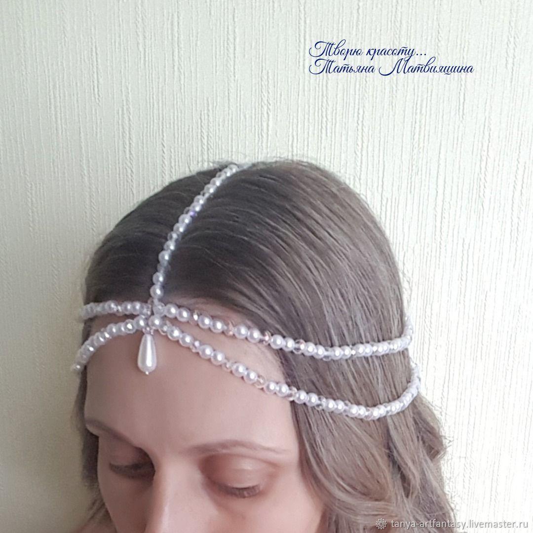 Teak hair. White beads. Teak wedding, Bridal Tiara, Vladivostok,  Фото №1