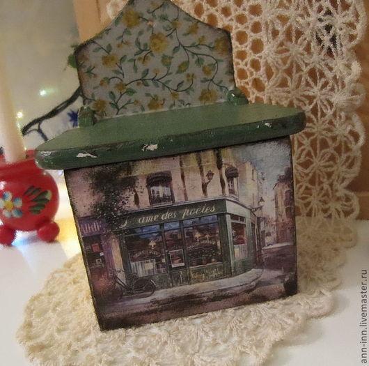 """Кухня ручной работы. Ярмарка Мастеров - ручная работа. Купить Короб для соли """"Французское кафе"""". Handmade. Тёмно-зелёный, солонка"""