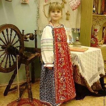 Русский стиль ручной работы. Ярмарка Мастеров - ручная работа Русско-народный костюм на девочку. Handmade.