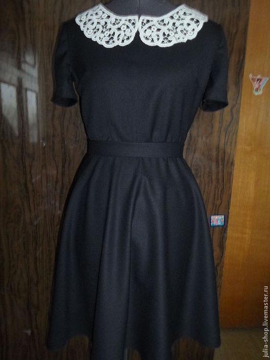 Платья ручной работы. Ярмарка Мастеров - ручная работа. Купить Маленькое черное платье с воротничком. Handmade. Чёрно-белый