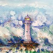 Картины и панно ручной работы. Ярмарка Мастеров - ручная работа МАЯК АКВАРЕЛЬ море маяк. Handmade.