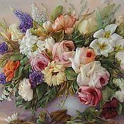 """Картины и панно ручной работы. Ярмарка Мастеров - ручная работа Букет в вазе """"Розы"""". Handmade."""