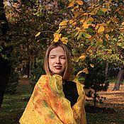 Аксессуары ручной работы. Ярмарка Мастеров - ручная работа Палантин-шарф валяный Нунофелтинг двусторонний шелковый Осень желтый. Handmade.