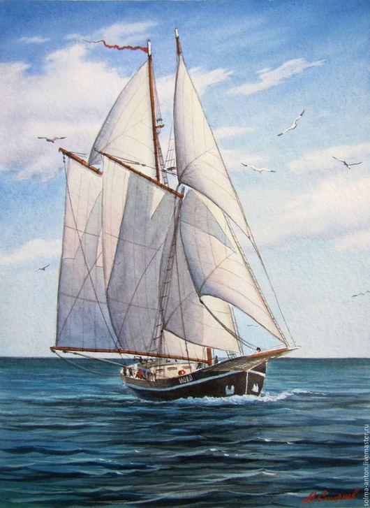 Пейзаж ручной работы. Ярмарка Мастеров - ручная работа. Купить Свежий ветер. Handmade. Бирюзовый, море, корабль, парусник, акварель