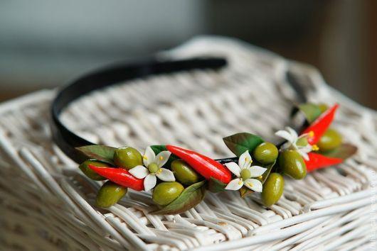 Диадемы, обручи ручной работы. Ярмарка Мастеров - ручная работа. Купить Ободок Греческие грезы с перчиками и цветами апельсина. Handmade.