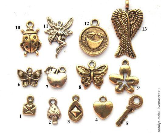 Для украшений ручной работы. Ярмарка Мастеров - ручная работа. Купить Подвески металлические античное золото З-1. Handmade.