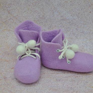 Обувь ручной работы. Ярмарка Мастеров - ручная работа Пинетки валяные Сирень. Handmade.