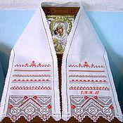Русский стиль handmade. Livemaster - original item Towel linen with embroidery on the icon. Hand embroidery.. Handmade.