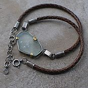handmade. Livemaster - original item Necklace with beryl cut on a cord, silver and brass. Handmade.