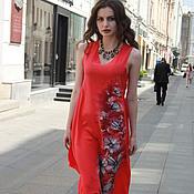 Одежда ручной работы. Ярмарка Мастеров - ручная работа платье батик персиковое лето с росписью. Handmade.