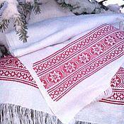 Русский стиль handmade. Livemaster - original item Towel embroidered with a cross pattern of Russian villages Tchaikovsky district. Handmade.