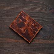 Сумки и аксессуары handmade. Livemaster - original item Cardholder leather Cognac Wax Italy. Handmade.