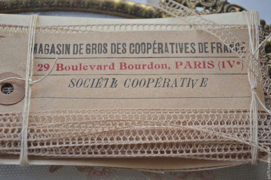 Вышивка ручной работы. Ярмарка Мастеров - ручная работа. Купить Кружевная тесьма, Франция. Handmade. Бежевый, кружево, французское кружево