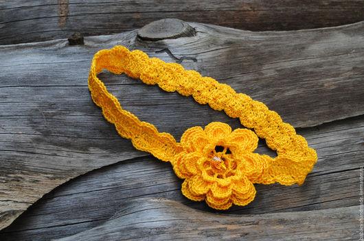"""Детская бижутерия ручной работы. Ярмарка Мастеров - ручная работа. Купить Повязка на голову """"Весенний цветок"""". Handmade. Желтый"""