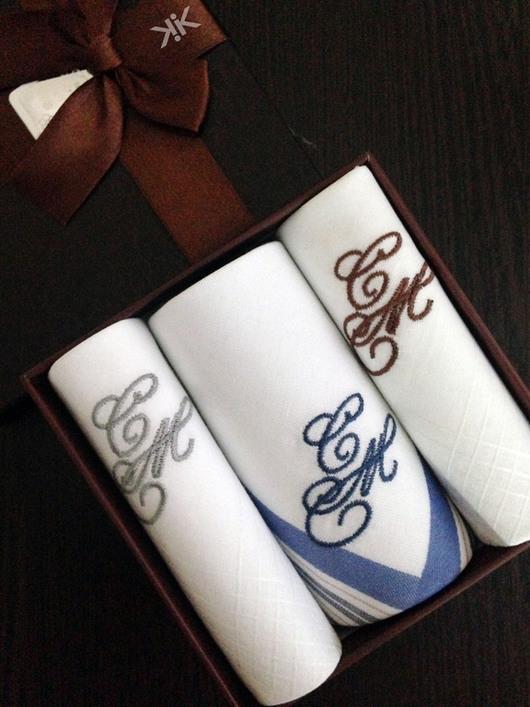 Носовые платочки ручной работы. Ярмарка Мастеров - ручная работа. Купить Носовые платочки  мужские Люкс с вышивкой  Монограмма Набор. Handmade.