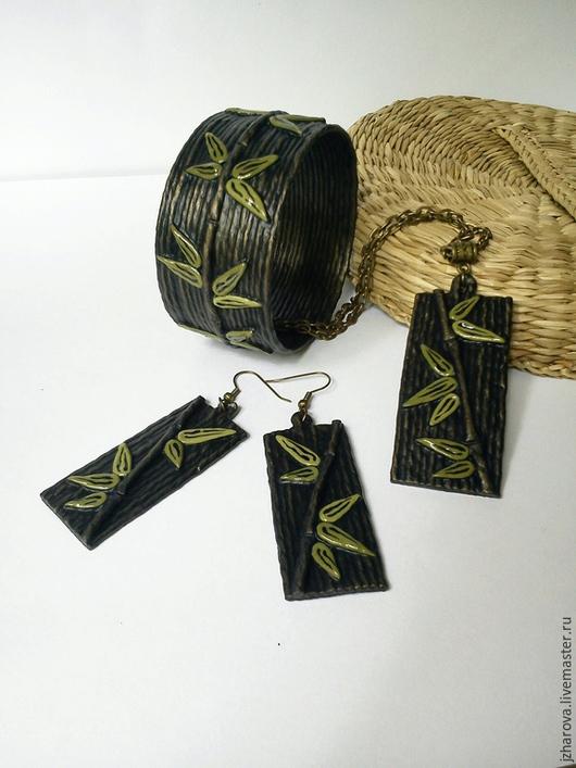 Комплекты украшений ручной работы. Ярмарка Мастеров - ручная работа. Купить Комплект из браслета,кулона и серег Бамбук. Handmade. Кулон
