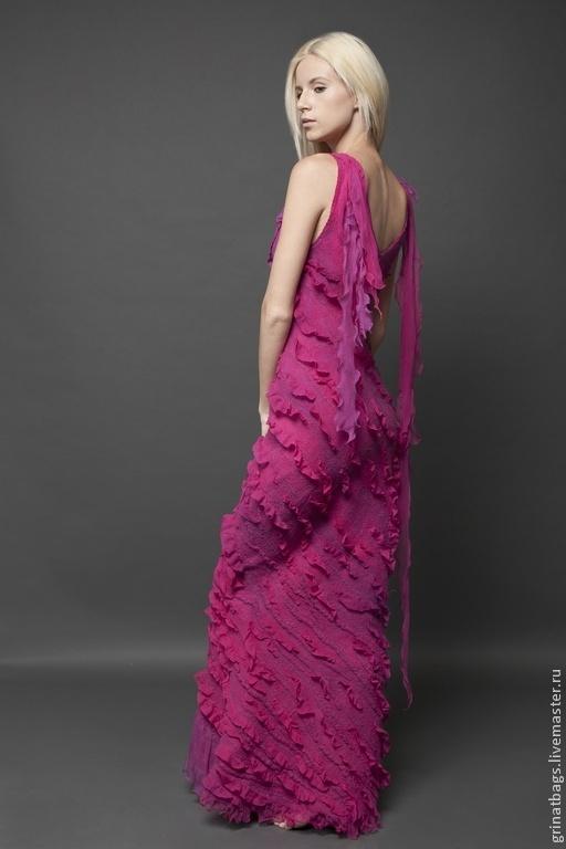 """Платья ручной работы. Ярмарка Мастеров - ручная работа. Купить Платье """"Фламинго"""". Handmade. Фуксия, подарок девушке, Шёлк 100%"""