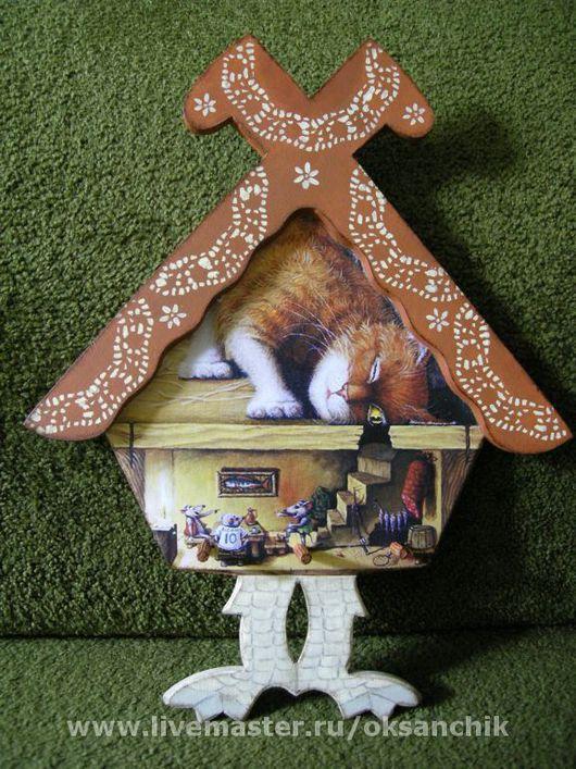"""Прихожая ручной работы. Ярмарка Мастеров - ручная работа. Купить ключница """"Избушка"""". Handmade. Ключница, коты, лак акриловый"""
