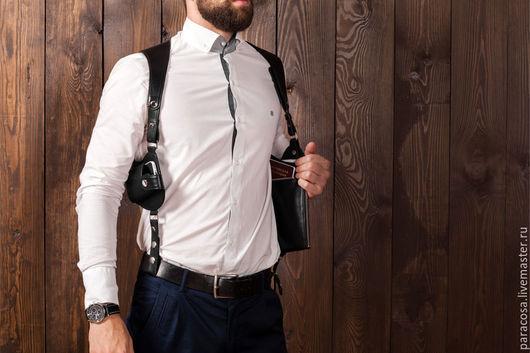 Мужские сумки ручной работы. Ярмарка Мастеров - ручная работа. Купить Сумка кобура скрытого ношения с чехлом для телефона из чёрной кожи. Handmade.