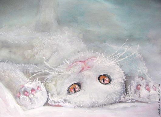 Картина с кошкой «Жизнь..налаживается!!))»Кошка Кот белый Катерины Аксеновой