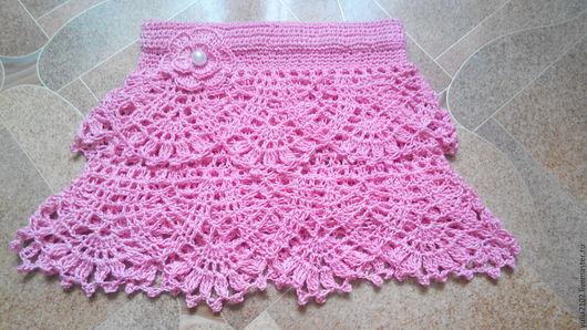 Одежда для девочек, ручной работы. Ярмарка Мастеров - ручная работа. Купить юбка для девочки крючком Розовая. Handmade. Розовый