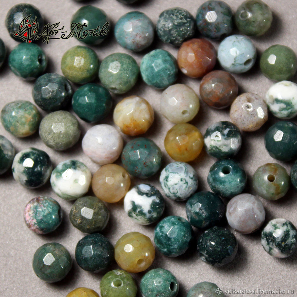 Oceanic Jasper (chalcedony), faceted bead, 6 mm (Natur. stone), Beads1, Moscow,  Фото №1