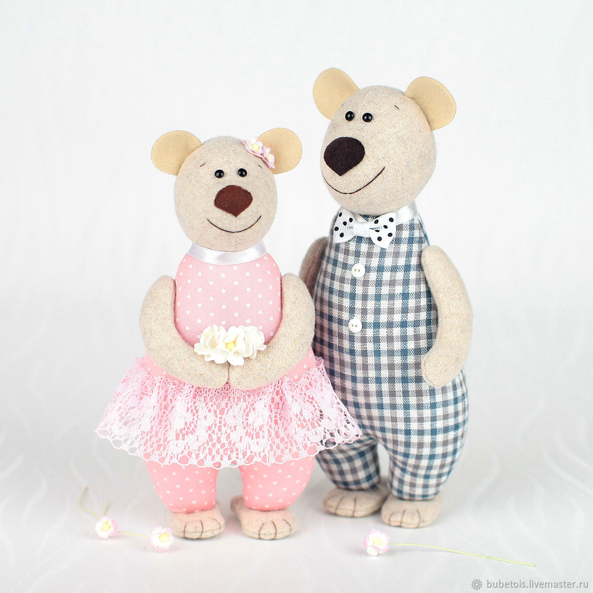Ситцевые медведи – подарок на 1 год свадьбы, игрушки мишки, Мягкие игрушки, Москва,  Фото №1