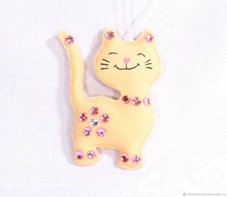 ГлаМУР-Рная кошечка. Кошка. Елочная игрушка из фетра, Елочные игрушки, Кириши,  Фото №1