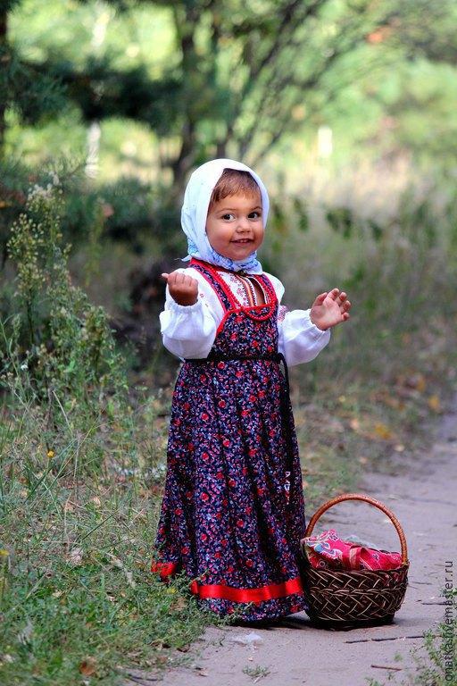 Одежда ручной работы. Ярмарка Мастеров - ручная работа. Купить Русский наряд (комплект для девочки). Handmade. Тёмно-синий, штапель