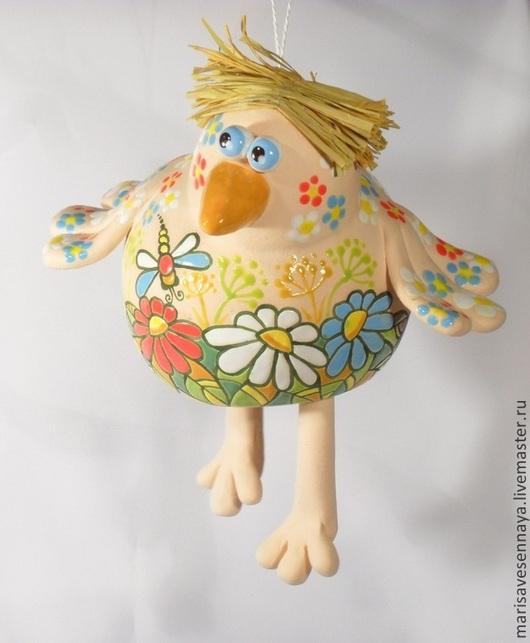 Подвески ручной работы. Ярмарка Мастеров - ручная работа. Купить Гончарное изделие подвеска Весенний птенец. Handmade. Разноцветный, Керамика