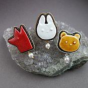 Украшения handmade. Livemaster - original item Brooch badge pin ceramic ANIMALS, beads, pearls. Handmade.