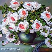 Подарки к праздникам ручной работы. Ярмарка Мастеров - ручная работа Белые розы. Handmade.
