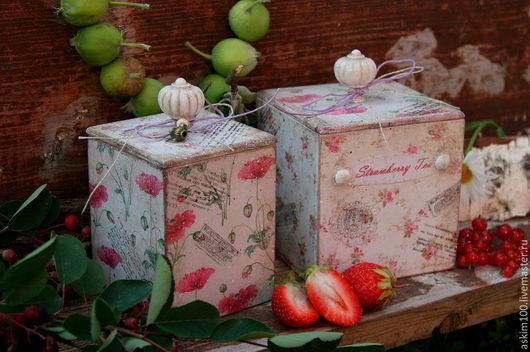 """Кухня ручной работы. Ярмарка Мастеров - ручная работа. Купить """"Клубничный чай"""" - две баночки для чая, сахара, пряностей... Handmade."""