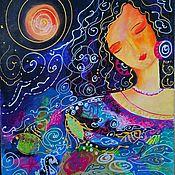 Картины и панно handmade. Livemaster - original item Picture Girl-fantasy night on black background. Handmade.