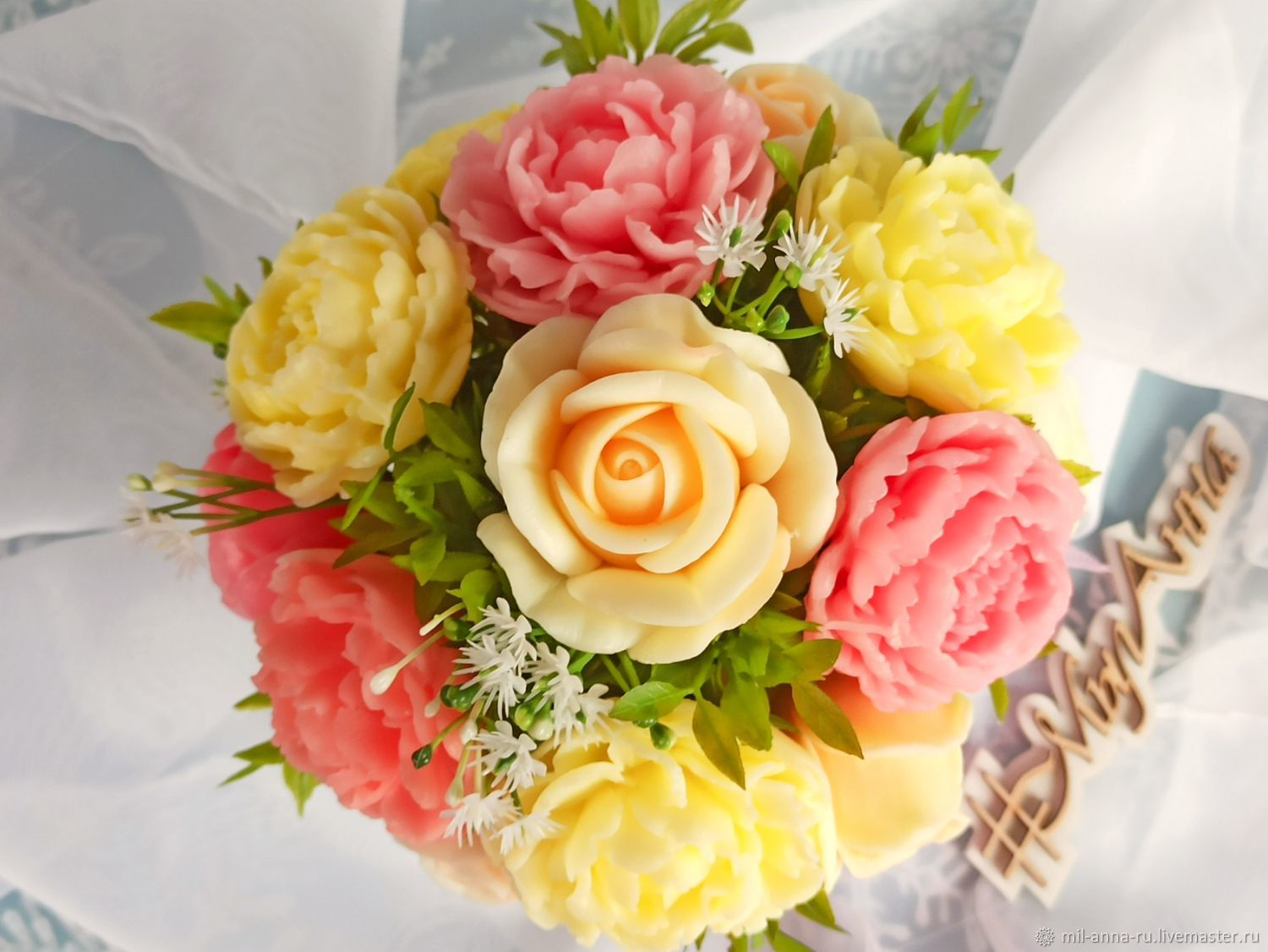 Bouquet of soap in a tureen. flowers MIX. Roses, Peonies, Soap, Rossosh,  Фото №1