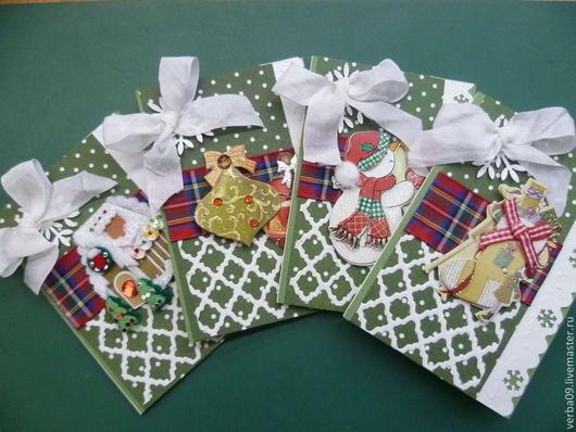 Открытки к Новому году ручной работы. Ярмарка Мастеров - ручная работа. Купить Набор из 3х новогодних мини-открыточек. Handmade.