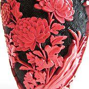 Винтаж handmade. Livemaster - original item Vintage vase red Chinese carved lacquer. Handmade.