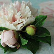 Украшения handmade. Livemaster - original item Brooch with pink and white peony and buds from polymer clay. Handmade.