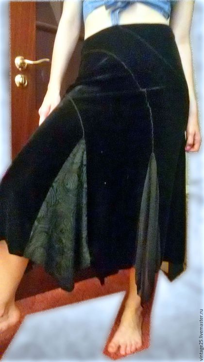Одежда. Ярмарка Мастеров - ручная работа. Купить Винтажная бархатная юбка ГОДЕ. Handmade. Черный, винтажная юбка, юбка из бархата
