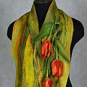 Аксессуары ручной работы. Ярмарка Мастеров - ручная работа шарф валяный с тюльпанами. Handmade.