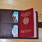 Канцелярские товары handmade. Livemaster - original item Passport cover leather. Handmade.