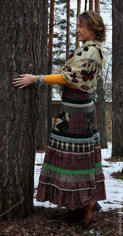 """Юбки ручной работы. Ярмарка Мастеров - ручная работа. Купить Длинная юбка бохо """"Проталина"""". Handmade. Тёмно-зелёный"""
